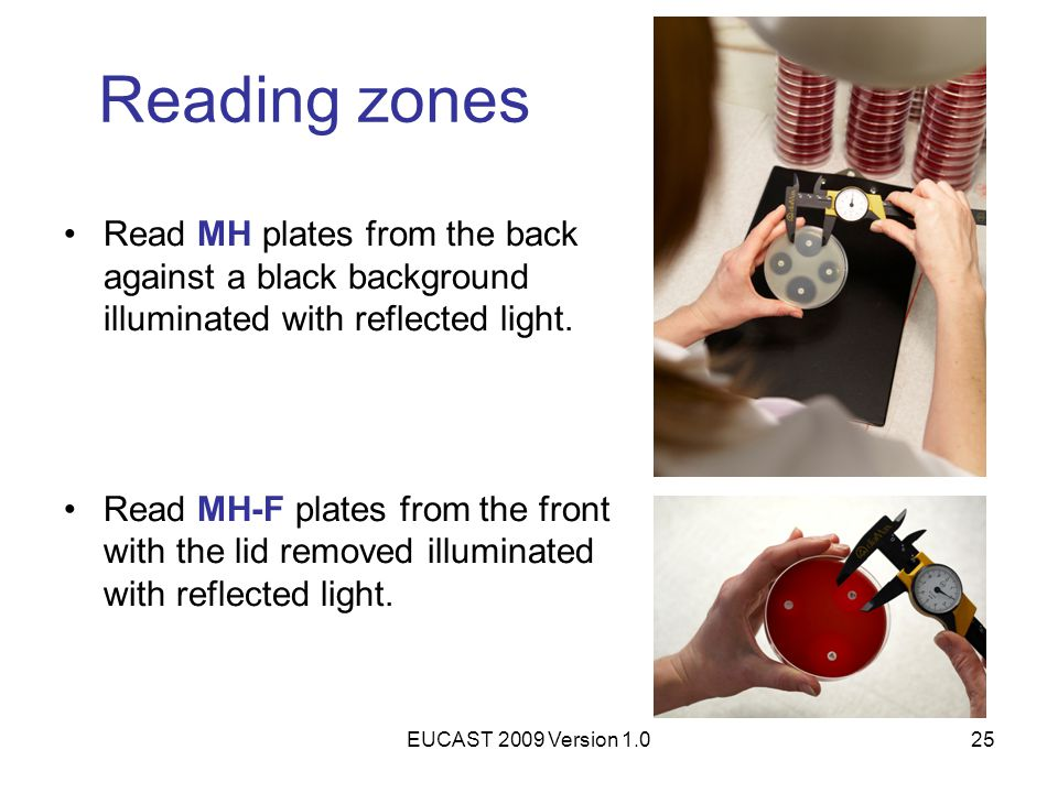 EUCAST 2009 Version 1.025 Reading zones Read MH plates from the back against a black background illuminated with reflected light. Read MH-F plates fro