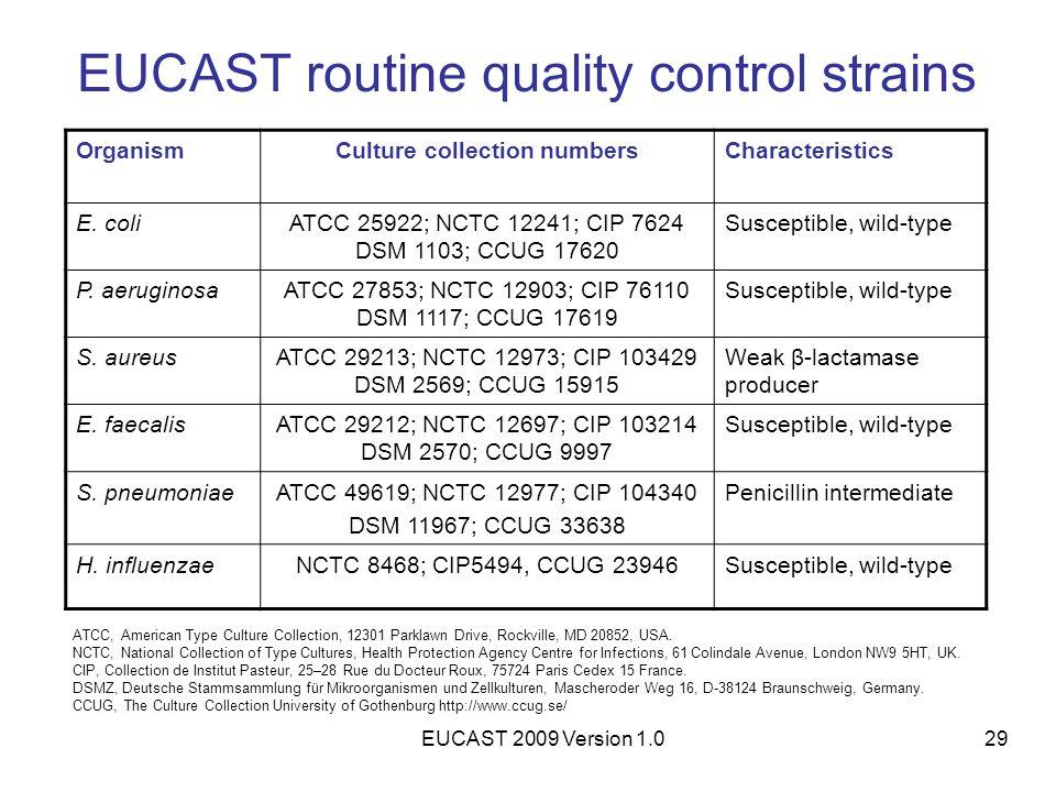 EUCAST 2009 Version 1.029 EUCAST routine quality control strains OrganismCulture collection numbersCharacteristics E. coliATCC 25922; NCTC 12241; CIP