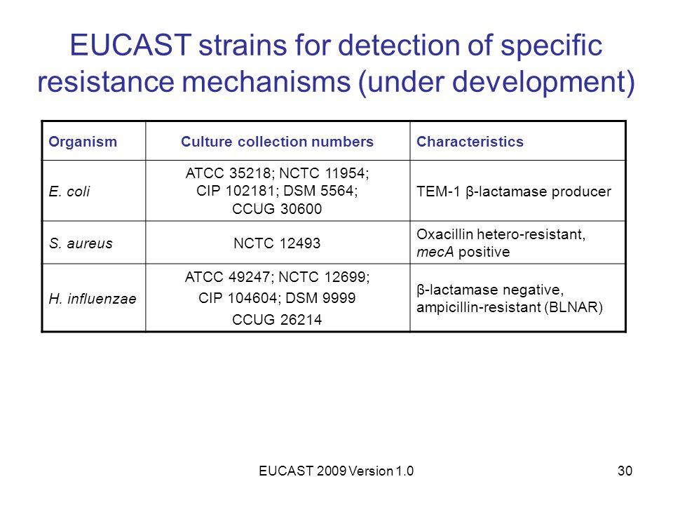 EUCAST 2009 Version 1.030 EUCAST strains for detection of specific resistance mechanisms (under development) OrganismCulture collection numbersCharact