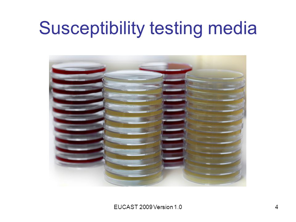 EUCAST 2009 Version 1.05 Susceptibility testing media Use only Mueller-Hinton agar (MH) Medium for fastidious organisms (MH-F, Mueller-Hinton Fastidious) is MH supplemented with 5% defibrinated horse blood and 20 mg/L β-nicotinamide adenine dinucleotide (NAD).