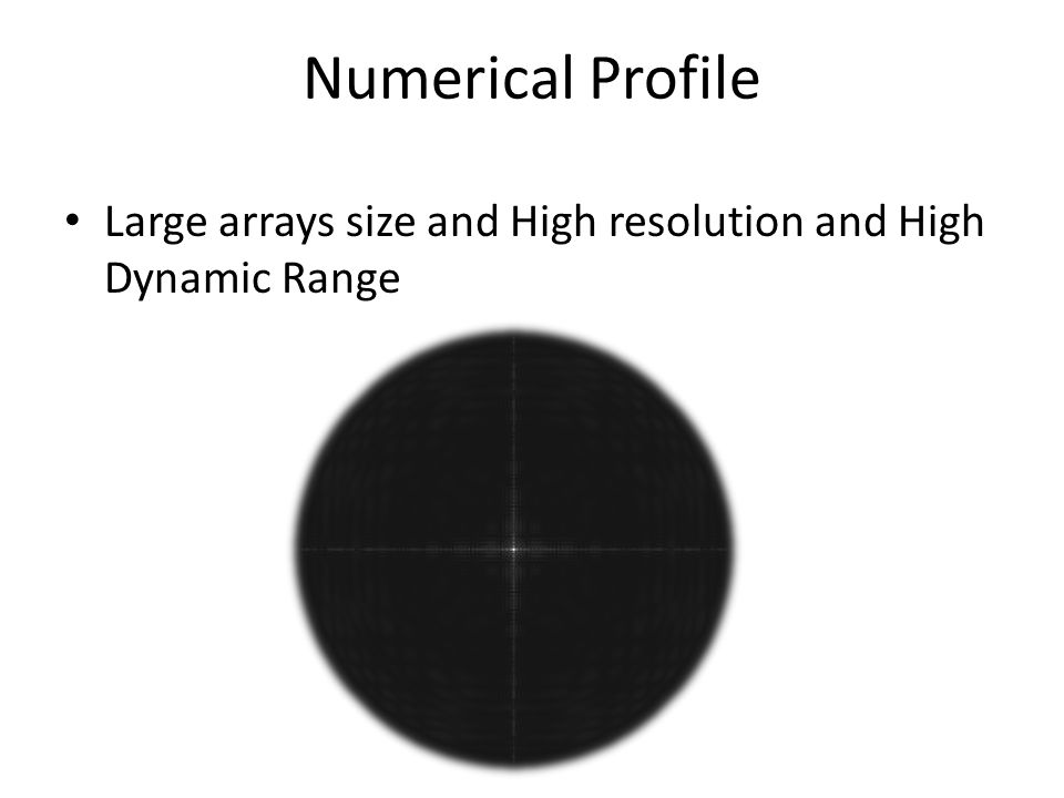 Numerical Profile Large arrays size and High resolution and High Dynamic Range