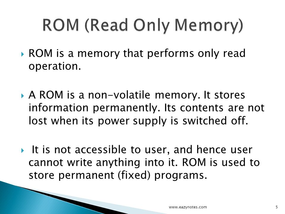 PROM (Programmable Read Only Memory) EPROM (Erasable Programmable Read Only Memory) EEPROM (Electrically Erasable Read Only Memory) UVPROM (Ultra-Violet Programmable Read Only Memory) www.eazynotes.com6