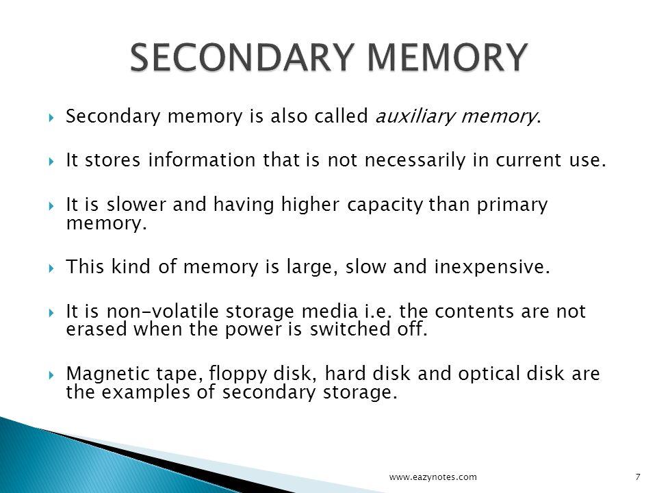 CD-ROM WORM Disk / CD-Recordable (CD-R) CD-Read/Write (CD-RW) Digital Video / Versatile Disk (DVD) Blu-ray Disk www.eazynotes.com18