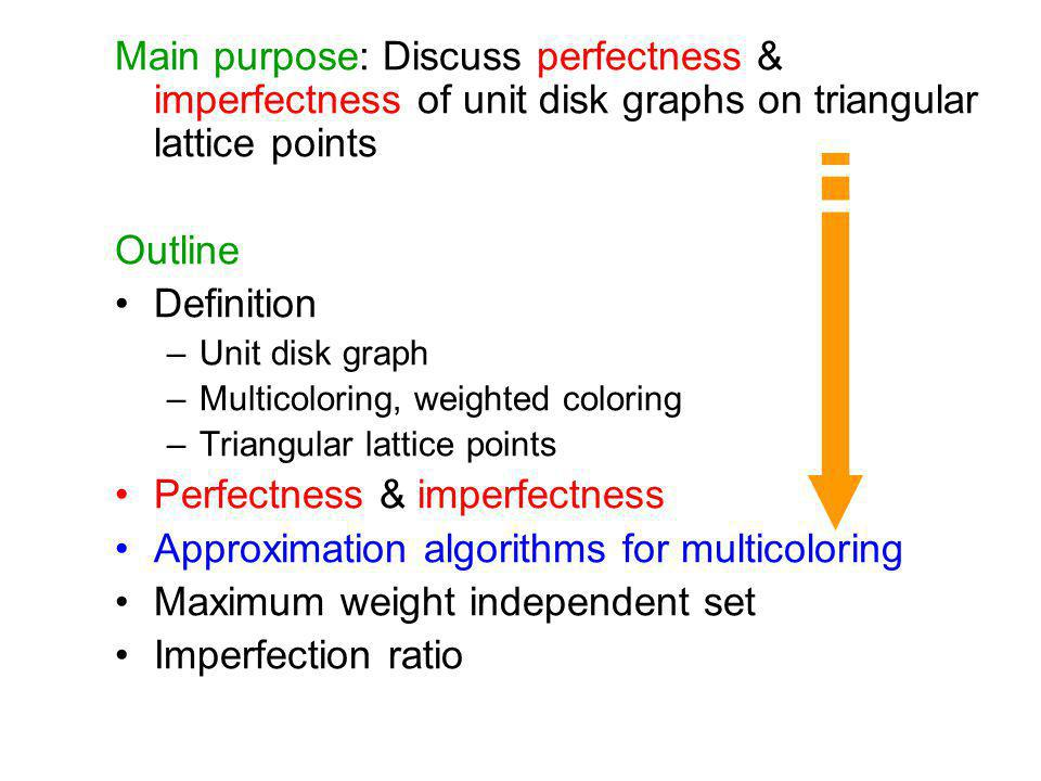 Main purpose: Discuss perfectness & imperfectness of unit disk graphs on triangular lattice points Outline Definition –Unit disk graph –Multicoloring,
