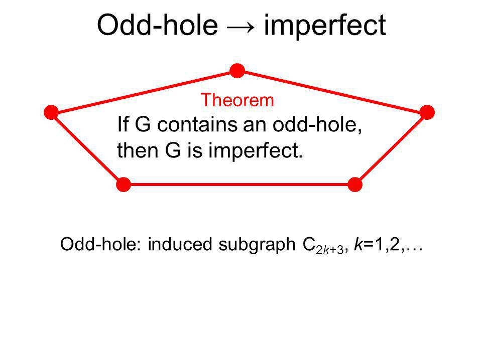 Odd-hole imperfect Odd-hole: induced subgraph C 2k+3, k=1,2,… If G contains an odd-hole, then G is imperfect. Theorem