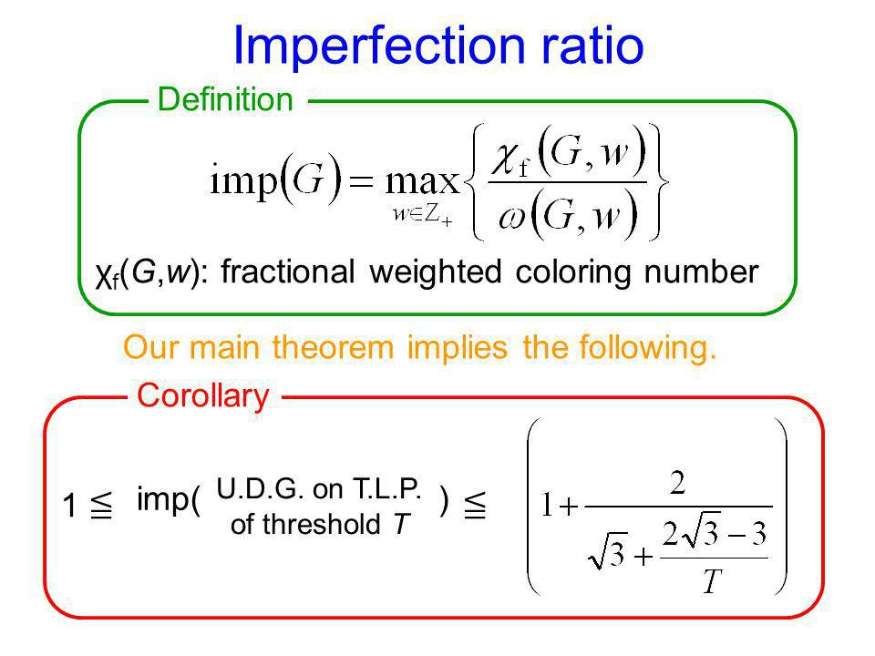 Imperfection ratio χ f (G,w): fractional weighted coloring number 1 U.D.G. on T.L.P. of threshold T imp( ) Our main theorem implies the following. Def