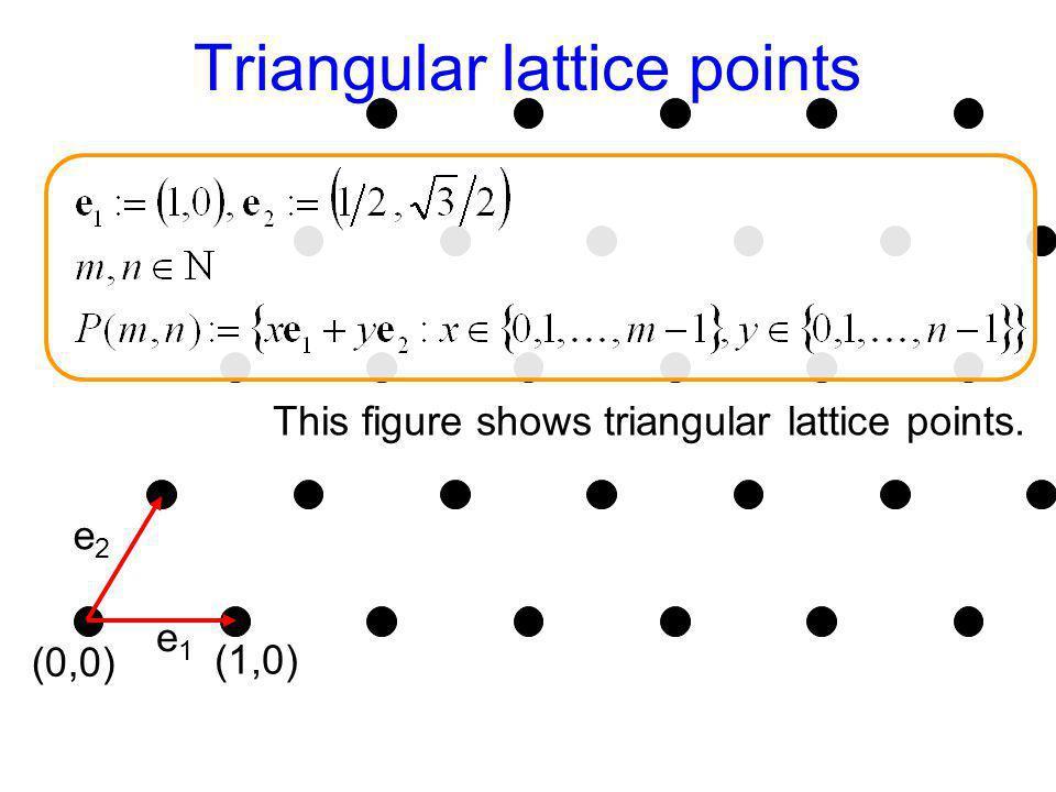 Triangular lattice points (0,0) e1e1 e2e2 (1,0) This figure shows triangular lattice points.