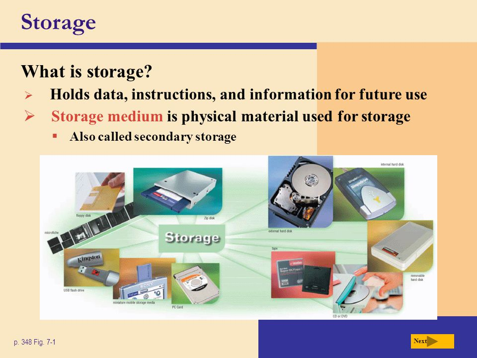Storage What is storage.p. 348 Fig.