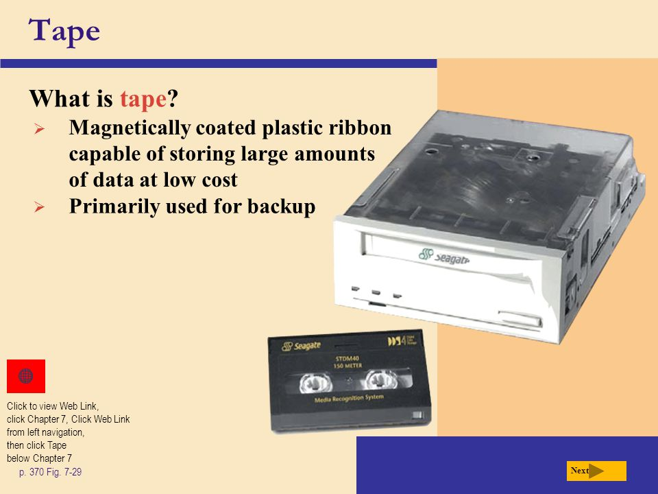 Tape What is tape.p. 370 Fig.