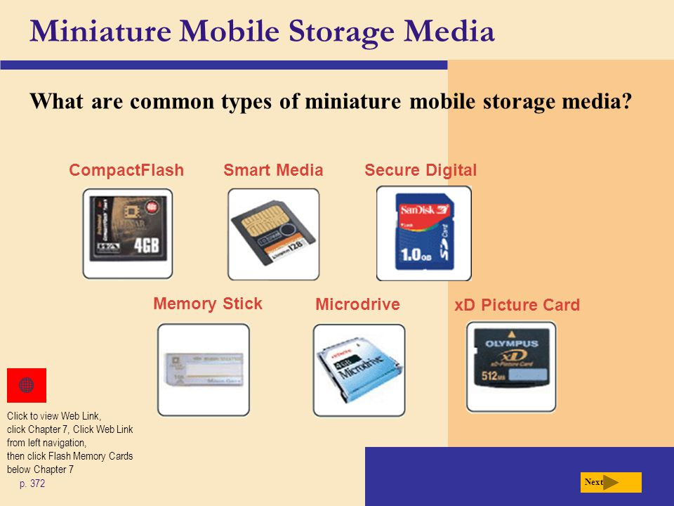 Miniature Mobile Storage Media What are common types of miniature mobile storage media.