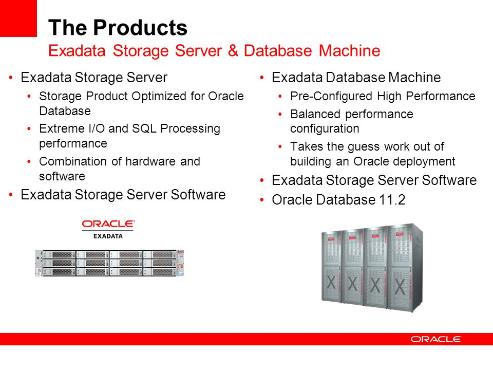 Simple Query Example Exadata Storage Grid SUM Optimizer Chooses Partitions to Access 10 TB scanned 100 GB returned to servers 10 TB scanned 100 GB returned to servers Oracle Database Grid What were my sales yesterday.
