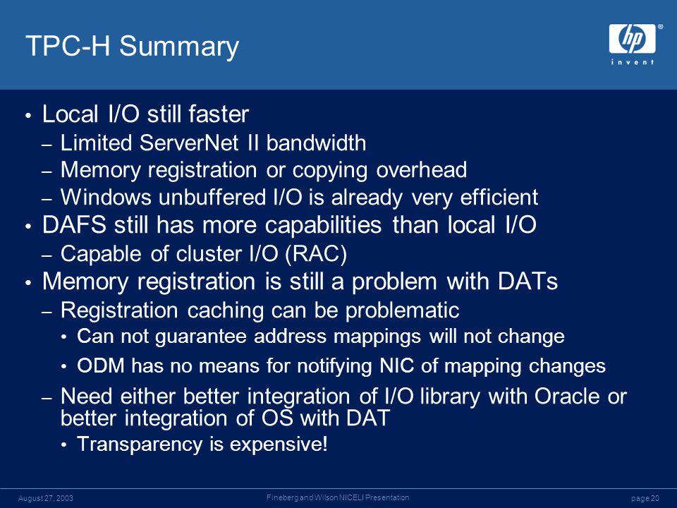 page 20August 27, 2003 Fineberg and Wilson NICELI Presentation TPC-H Summary Local I/O still faster – Limited ServerNet II bandwidth – Memory registra