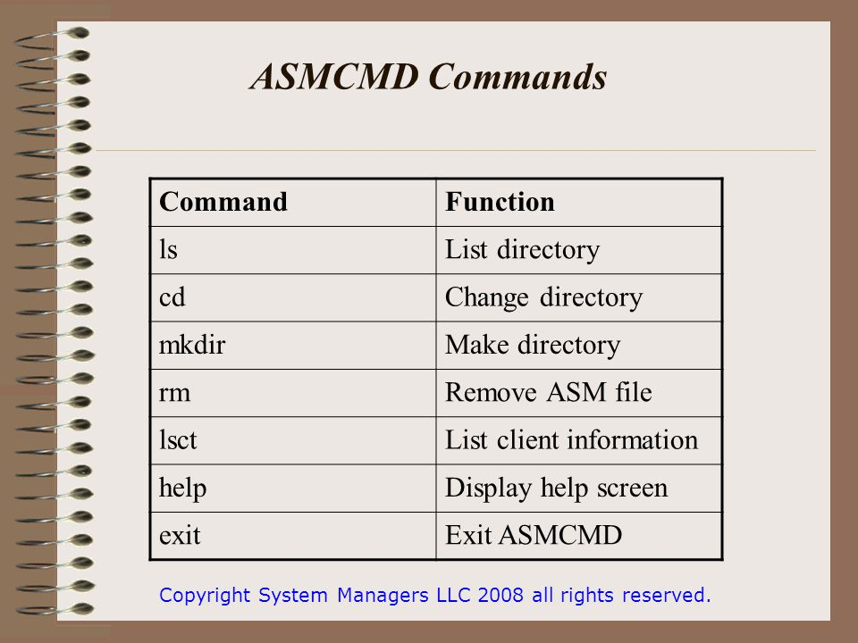 ASMCMD Commands Copyright System Managers LLC 2008 all rights reserved.