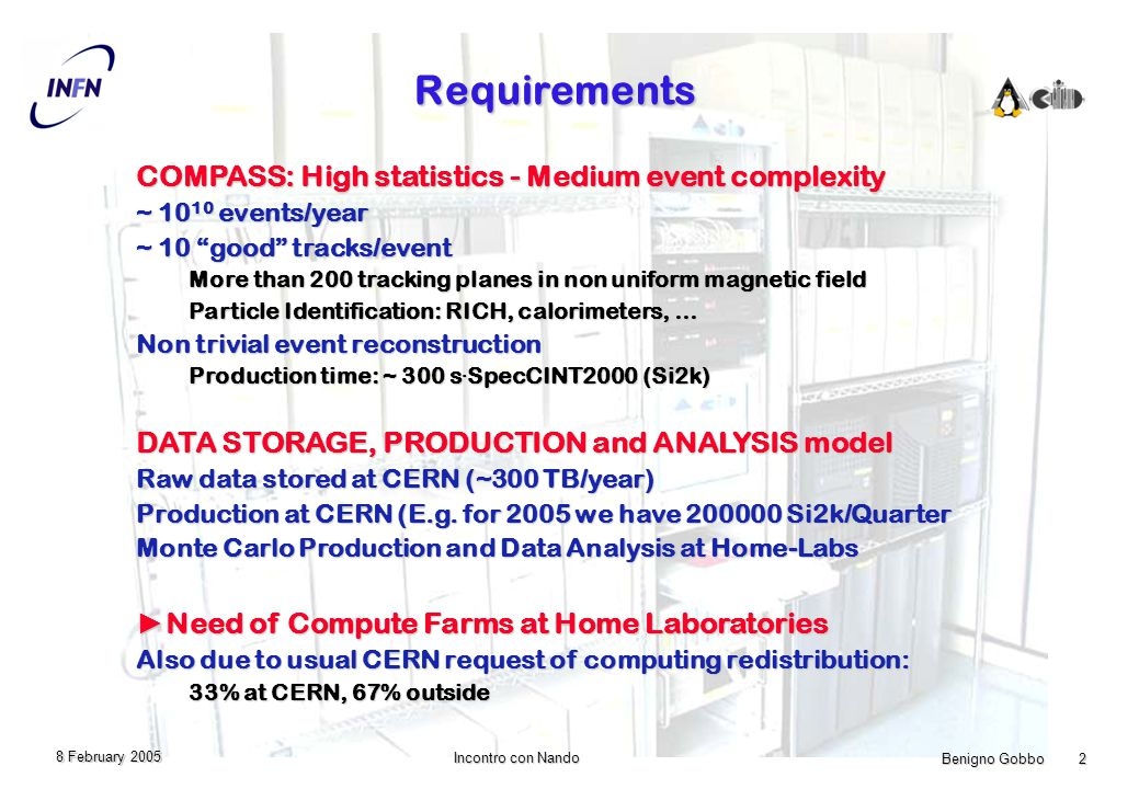 Benigno Gobbo 2 Incontro con Nando 8 February 2005 Requirements COMPASS: High statistics - Medium event complexity ~ events/year ~ 10 good tracks/event More than 200 tracking planes in non uniform magnetic field Particle Identification: RICH, calorimeters, … Non trivial event reconstruction Production time: ~ 300 s.