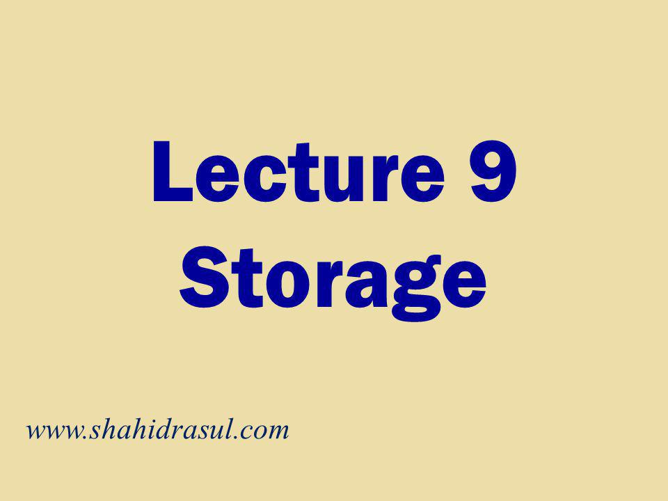 Lecture 9 Storage www.shahidrasul.com