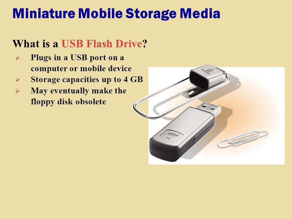 Miniature Mobile Storage Media What is a USB Flash Drive? Plugs in a USB port on a computer or mobile device Storage capacities up to 4 GB May eventua