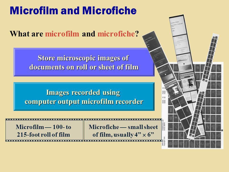 Microfilm and Microfiche What are microfilm and microfiche? Images recorded using computer output microfilm recorder Store microscopic images of docum