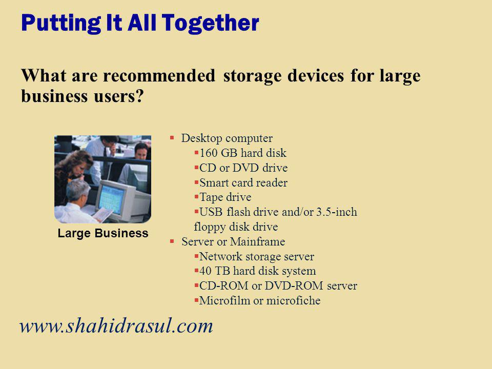 Putting It All Together What are recommended storage devices for large business users? Desktop computer 160 GB hard disk CD or DVD drive Smart card re