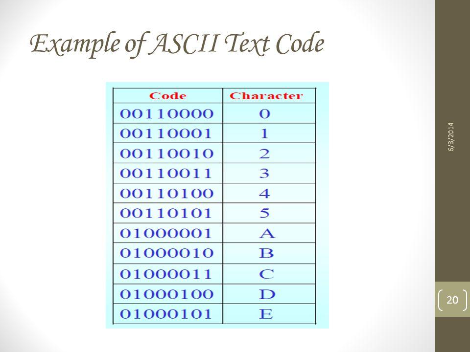 Example of ASCII Text Code 6/3/2014 20