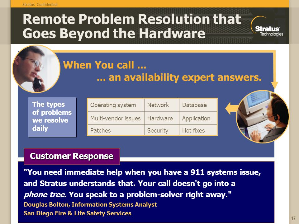 Stratus Confidential 17 Remote Problem Resolution that Goes Beyond the Hardware The types of problems we resolve daily... an availability expert answe
