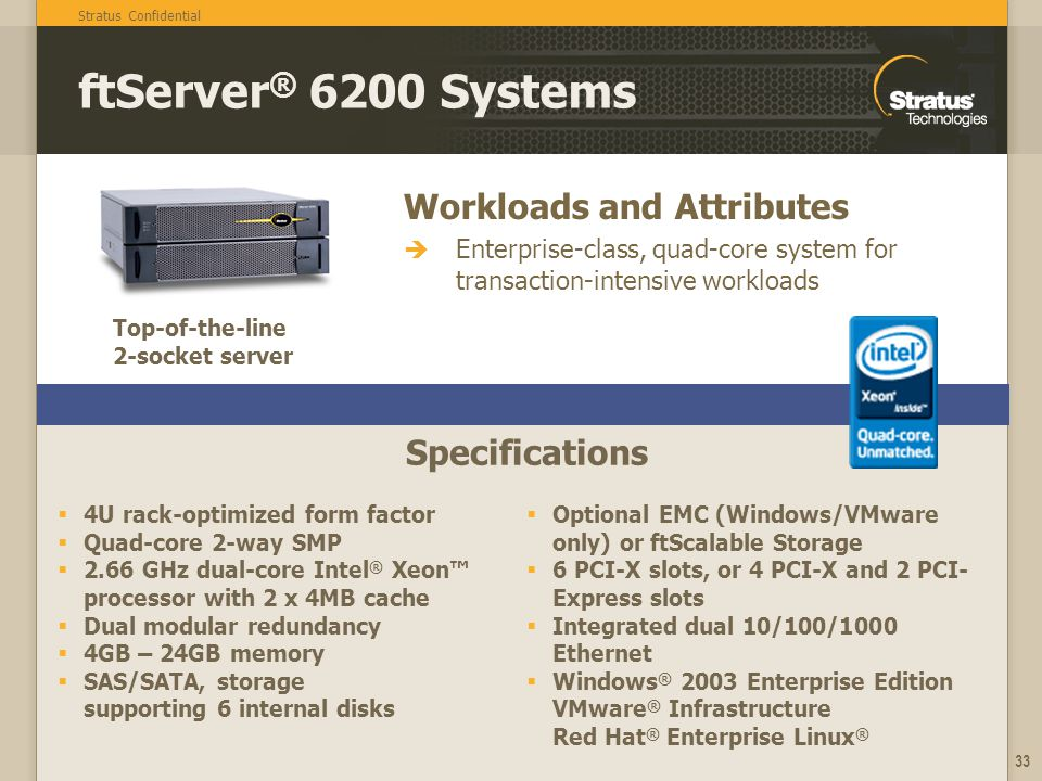 Stratus Confidential 33 Workloads and Attributes Enterprise-class, quad-core system for transaction-intensive workloads Specifications ftServer ® 6200 Systems 4U rack-optimized form factor Quad-core 2-way SMP 2.66 GHz dual-core Intel ® Xeon processor with 2 x 4MB cache Dual modular redundancy 4GB – 24GB memory SAS/SATA, storage supporting 6 internal disks Optional EMC (Windows/VMware only) or ftScalable Storage 6 PCI-X slots, or 4 PCI-X and 2 PCI- Express slots Integrated dual 10/100/1000 Ethernet Windows ® 2003 Enterprise Edition VMware ® Infrastructure Red Hat ® Enterprise Linux ® Top-of-the-line 2-socket server