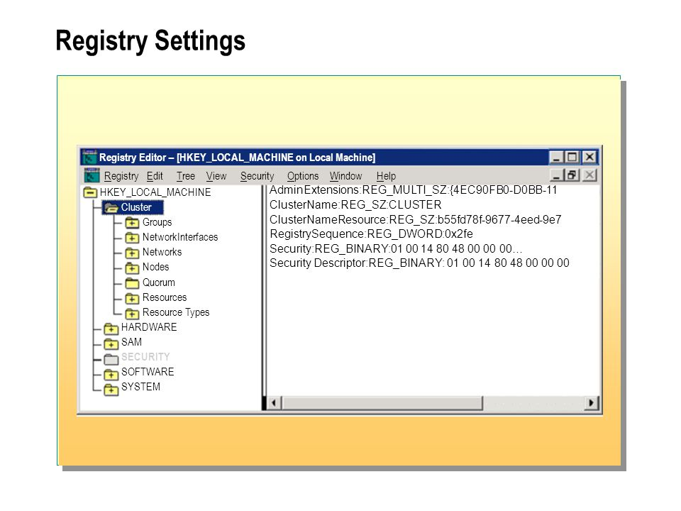 Registry Settings Registry Editor – [HKEY_LOCAL_MACHINE on Local Machine] RegistryEditTreeViewSecurityOptionsWindowHelp HKEY_LOCAL_MACHINE Cluster Groups NetworkInterfaces Networks Nodes Quorum Resources Resource Types HARDWARE SAM SECURITY SOFTWARE SYSTEM AdminExtensions:REG_MULTI_SZ:{4EC90FB0-D0BB-11 ClusterName:REG_SZ:CLUSTER ClusterNameResource:REG_SZ:b55fd78f-9677-4eed-9e7 RegistrySequence:REG_DWORD:0x2fe Security:REG_BINARY:01 00 14 80 48 00 00 00… Security Descriptor:REG_BINARY: 01 00 14 80 48 00 00 00