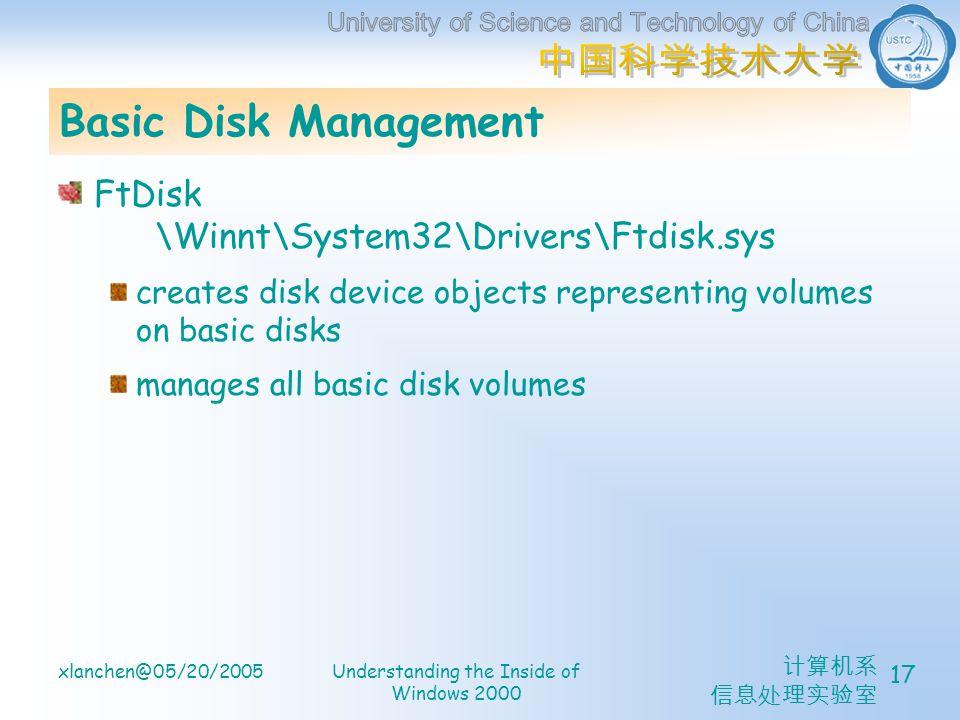 xlanchen@05/20/2005Understanding the Inside of Windows 2000 17 Basic Disk Management FtDisk \Winnt\System32\Drivers\Ftdisk.sys creates disk device obj