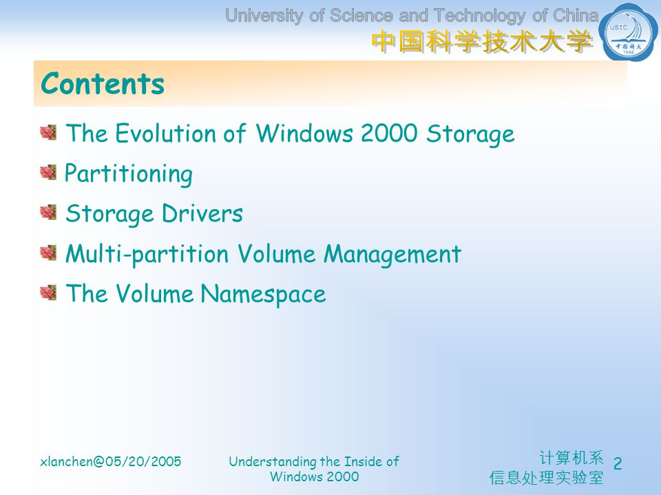 xlanchen@05/20/2005Understanding the Inside of Windows 2000 2 Contents The Evolution of Windows 2000 Storage Partitioning Storage Drivers Multi-partition Volume Management The Volume Namespace