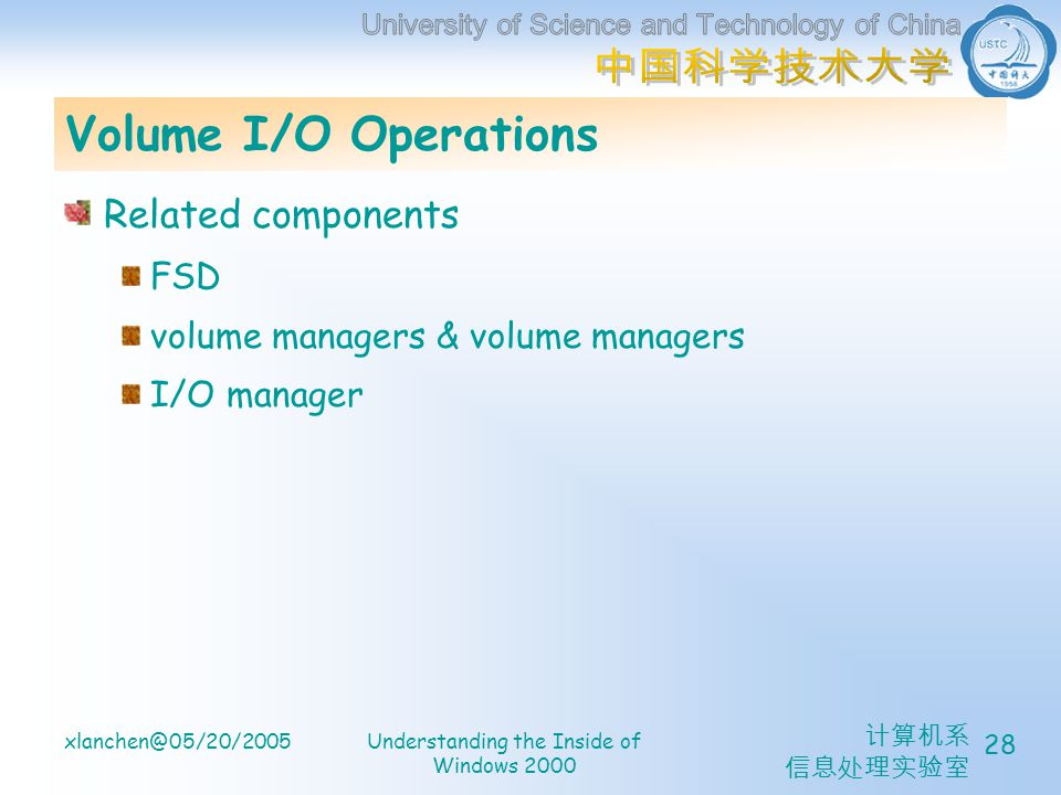 xlanchen@05/20/2005Understanding the Inside of Windows 2000 28 Volume I/O Operations Related components FSD volume managers & volume managers I/O manager