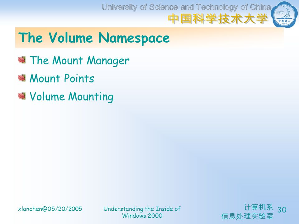 xlanchen@05/20/2005Understanding the Inside of Windows 2000 30 The Volume Namespace The Mount Manager Mount Points Volume Mounting