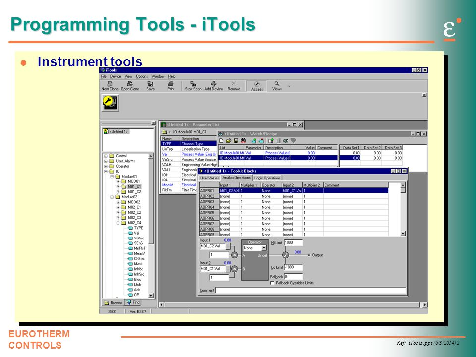Ref: iTools.ppt (6/3/2014) 2 EUROTHERM CONTROLS l Instrument tools Programming Tools - iTools