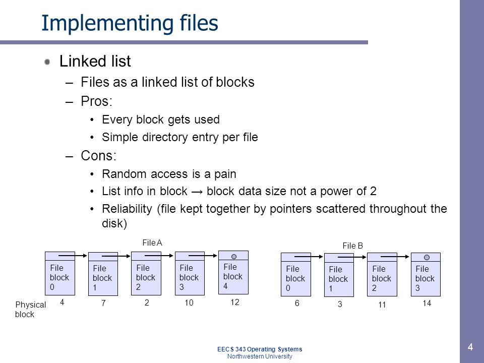 4 Implementing files Linked list –Files as a linked list of blocks –Pros: Every block gets used Simple directory entry per file –Cons: Random access i