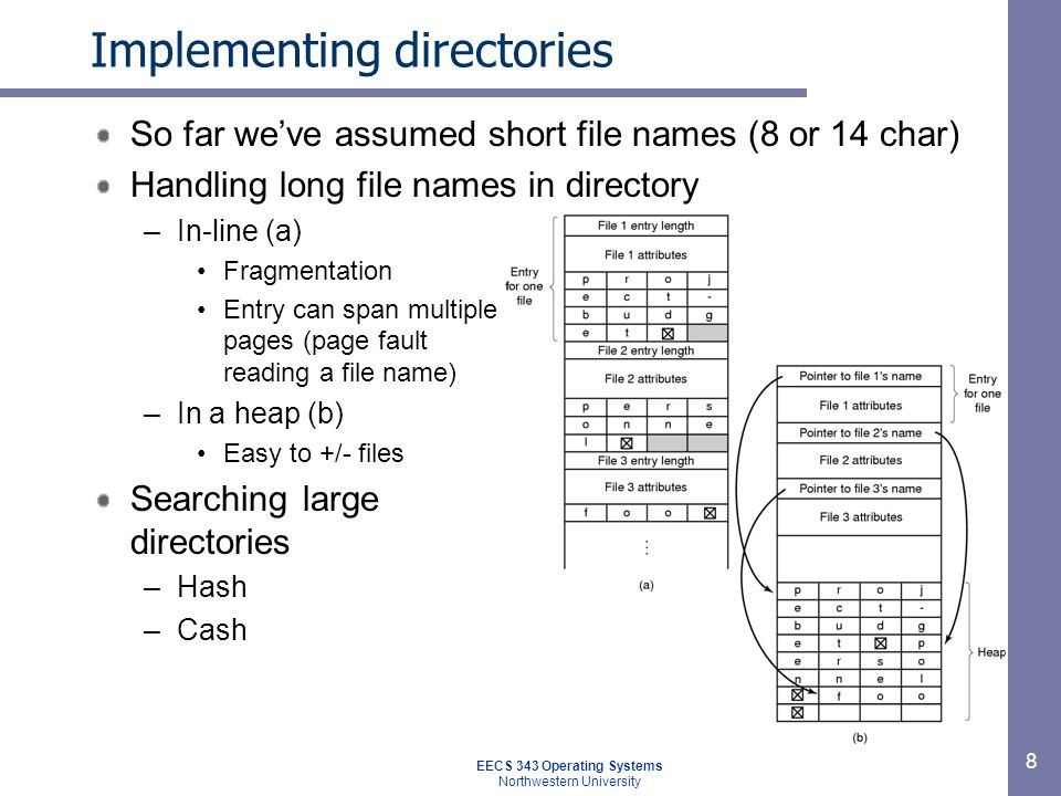 8 Implementing directories So far weve assumed short file names (8 or 14 char) Handling long file names in directory –In-line (a) Fragmentation Entry