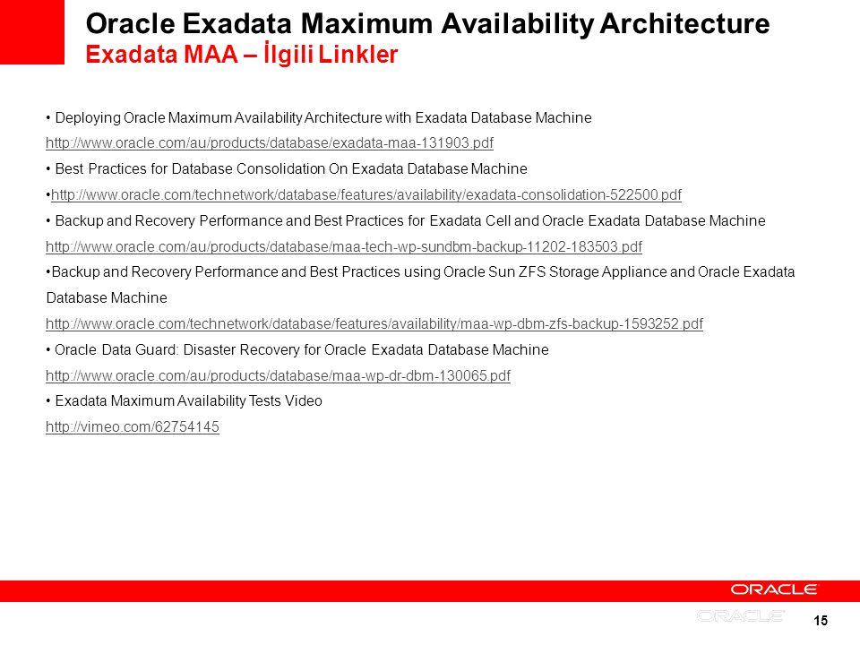 15 Oracle Exadata Maximum Availability Architecture Exadata MAA – İlgili Linkler Deploying Oracle Maximum Availability Architecture with Exadata Datab