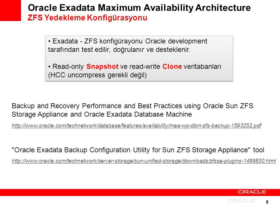 9 Oracle Exadata Maximum Availability Architecture Tape Backup Best Practiceler Disk backupla birlikte tape backup kullanımı tavsiye edilir; Artıları: Veri Exadata kutusunun dışında yedeklenir Yedeklerin uzak lokasyonlarda saklanması kolaydır Birden fazla yedek düşük maliyetle saklanabilir Disk backupla birlikte tape backup kullanımı tavsiye edilir; Artıları: Veri Exadata kutusunun dışında yedeklenir Yedeklerin uzak lokasyonlarda saklanması kolaydır Birden fazla yedek düşük maliyetle saklanabilir RMAN ile uyumlu tüm tape yedekleme ürünleri desteklenir Exadata ile Tape Library arasında bir Media Server bulunmalıdır Backup - restore hızı tape okuma yazma ve bağlantı hızına bağlıdır RMAN ile uyumlu tüm tape yedekleme ürünleri desteklenir Exadata ile Tape Library arasında bir Media Server bulunmalıdır Backup - restore hızı tape okuma yazma ve bağlantı hızına bağlıdır