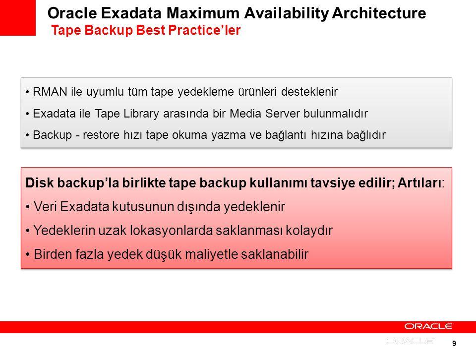9 Oracle Exadata Maximum Availability Architecture Tape Backup Best Practiceler Disk backupla birlikte tape backup kullanımı tavsiye edilir; Artıları: