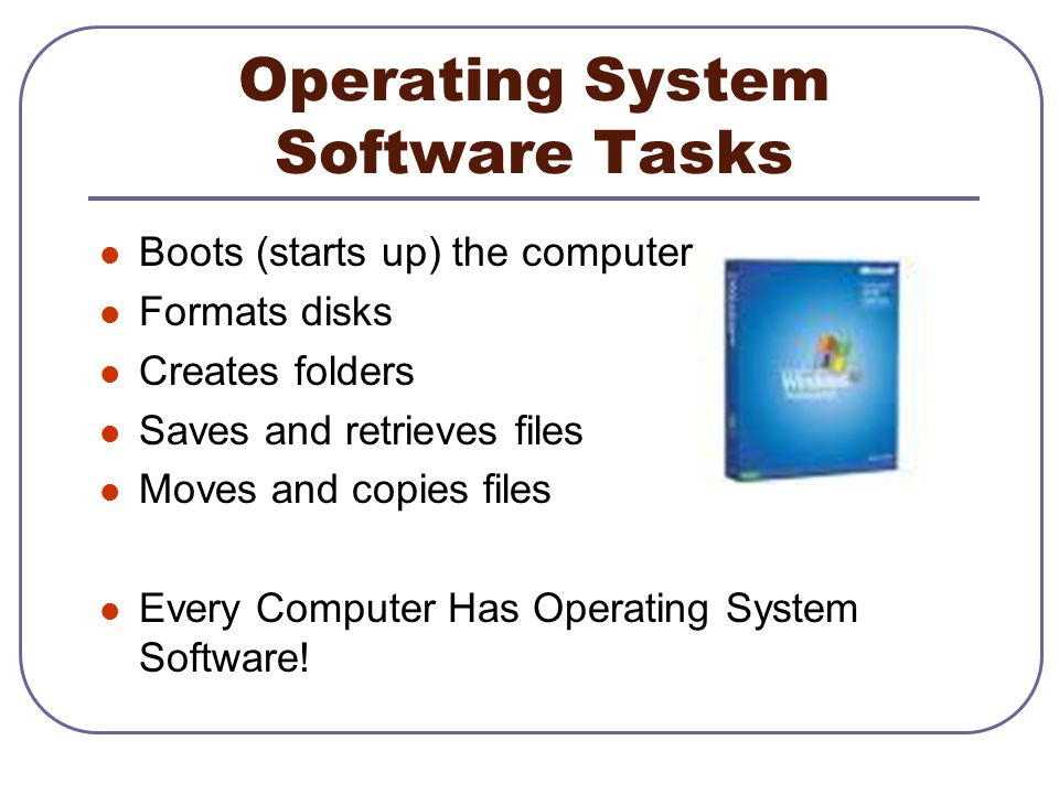 Operating System Software Tasks Boots (starts up) the computer Formats disks Creates folders Saves and retrieves files Moves and copies files Every Co