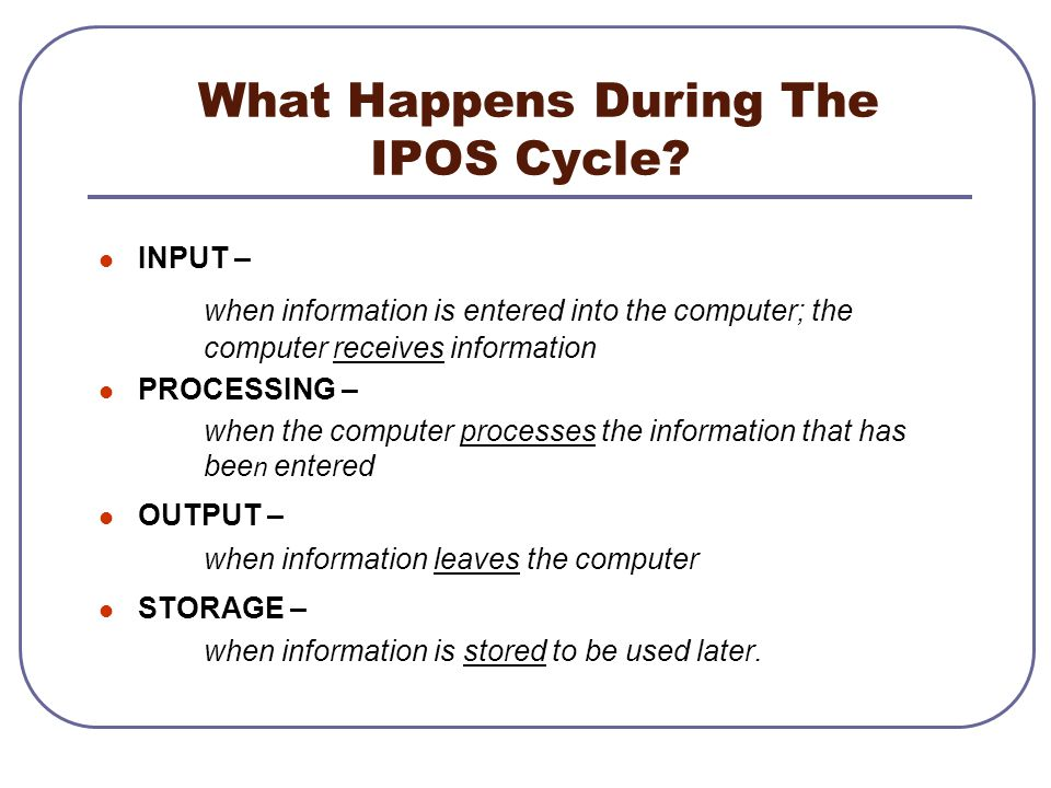 What Happens During The IPOS Cycle? INPUT – when information is entered into the computer; the computer receives information PROCESSING – when the com