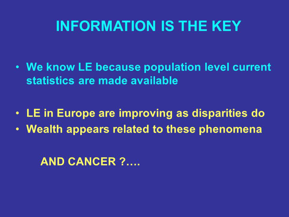 We know LE because population level current statistics are made available LE in Europe are improving as disparities do Wealth appears related to these phenomena AND CANCER ?….