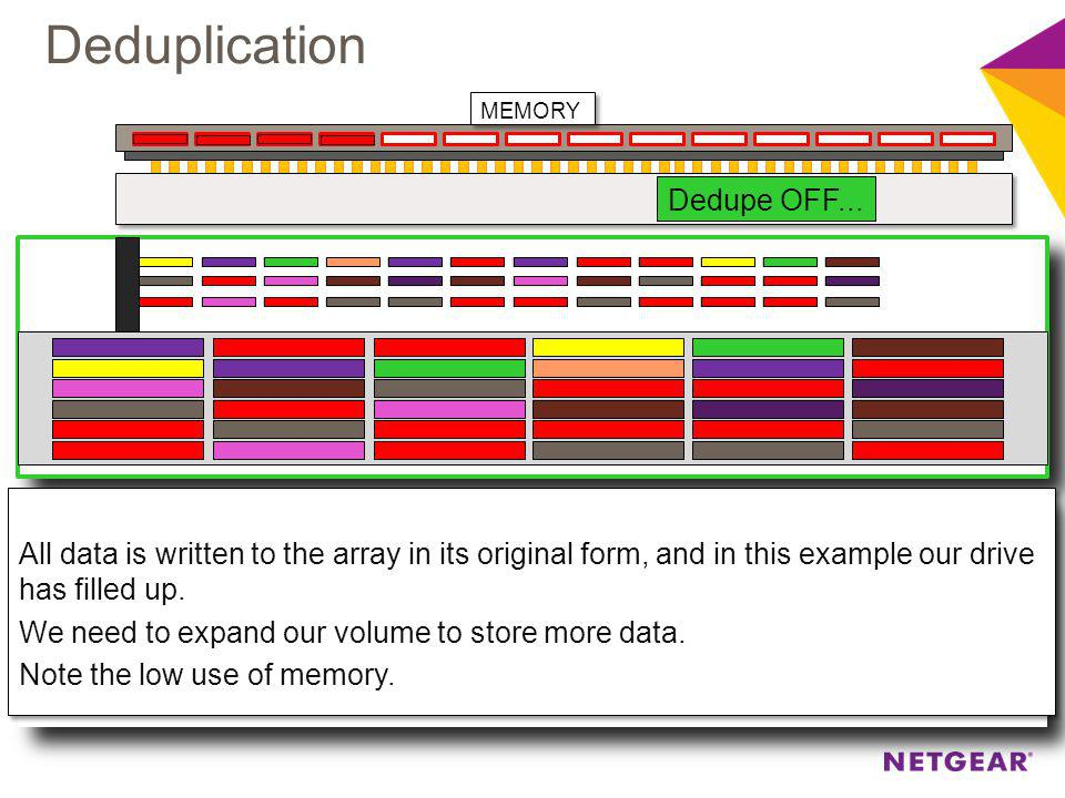 Dedupe OFF... All data is written to the array in its original form, and in this example our drive has filled up. We need to expand our volume to stor