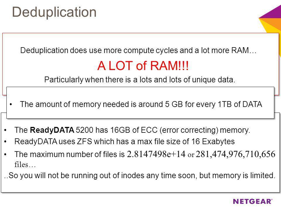 Deduplication does use more compute cycles and a lot more RAM… A LOT of RAM!!.