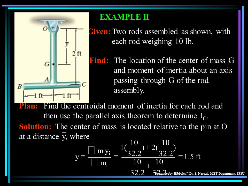 Dynamics by Hibbeler, Dr. S. Nasseri, MET Department, SPSU Find:The location of the center of mass G and moment of inertia about an axis passing throu
