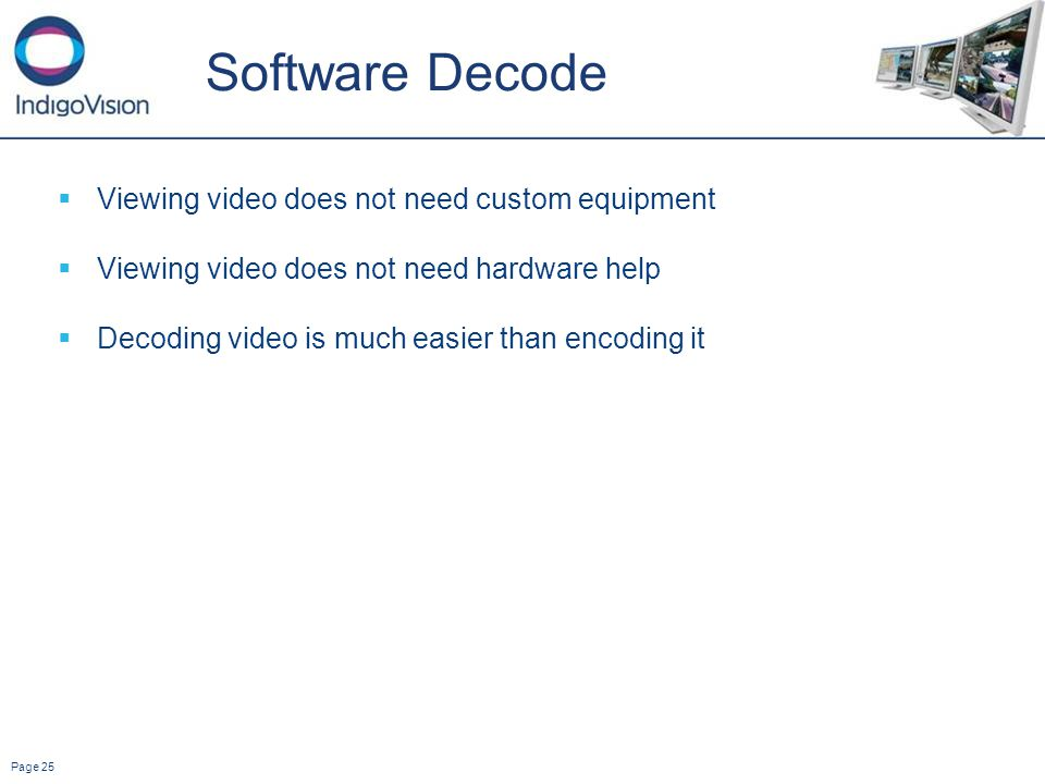 Page 25 Software Decode Viewing video does not need custom equipment Viewing video does not need hardware help Decoding video is much easier than encoding it