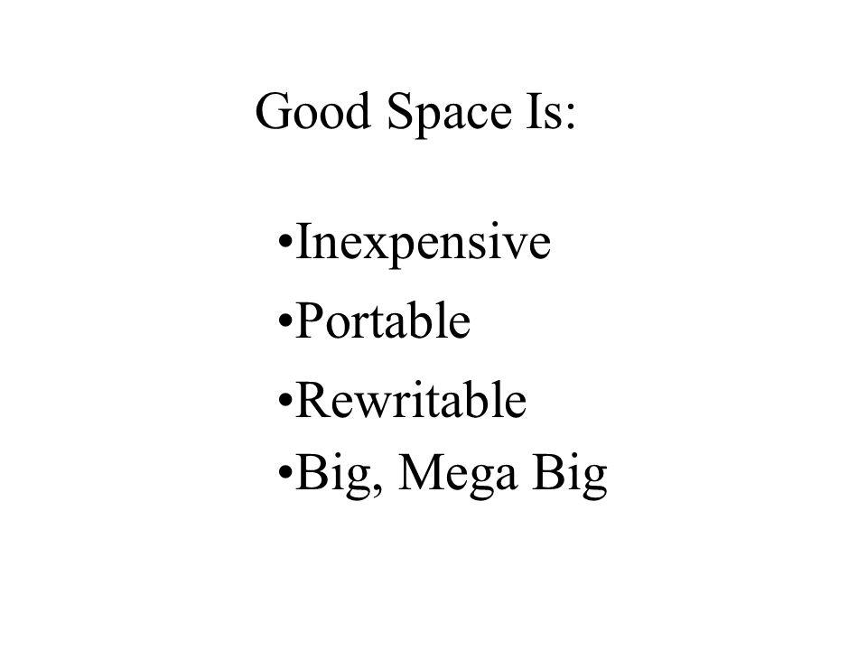 Good Space Is: Inexpensive Portable Rewritable Big, Mega Big