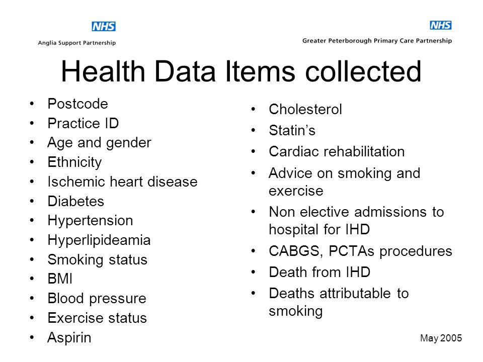 May 2005 What we wanted to look at Risk factors for IHD – smoking, diabetes, exercise status, BMI Prevention – exercise schemes and advice, health eat