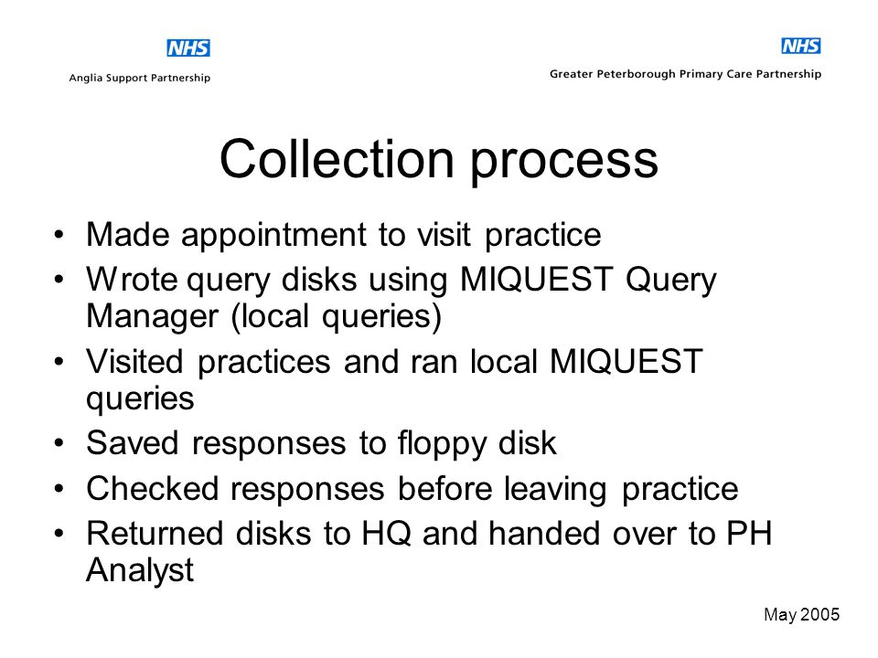 May 2005 MIQUEST Queries Looked at Report style queries for RUSH for practices These were edited to meet our needs Read Codes were based on nGMS contr