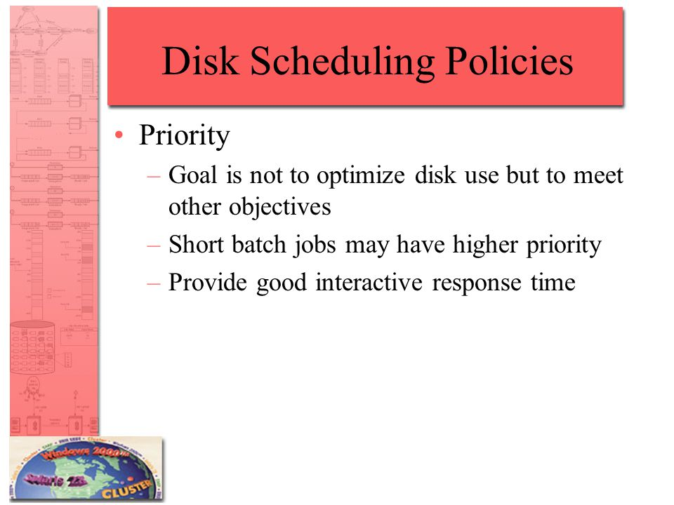 Disk Scheduling Policies Priority –Goal is not to optimize disk use but to meet other objectives –Short batch jobs may have higher priority –Provide good interactive response time