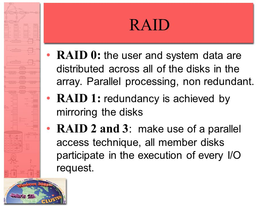 RAID RAID 0: the user and system data are distributed across all of the disks in the array.