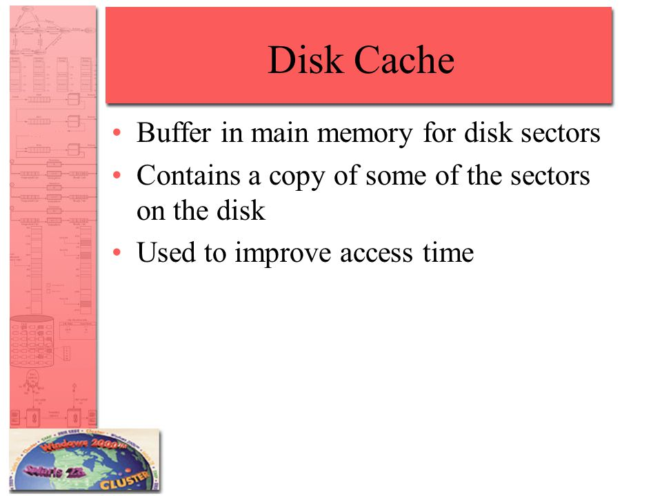Disk Cache Buffer in main memory for disk sectors Contains a copy of some of the sectors on the disk Used to improve access time