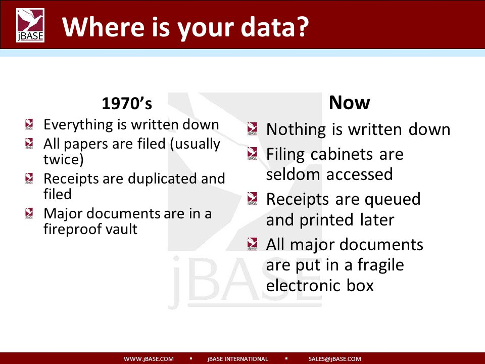 WWW.jBASE.COM jBASE INTERNATIONAL SALES@jBASE.COM Synopsis Where is your data? How would its loss impact you? How do you protect it? What does transac